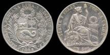 World Coins - 1886 TF Peru 1 Sol AU