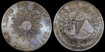 World Coins - 1838 CUZCO MS Peru (South Peru) 8 Real XF