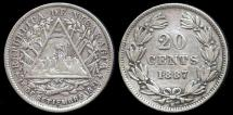 World Coins - 1887 H Nicaragua 20 Centavos XF