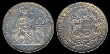 World Coins - 1874 YJ Peru 1 Sol XF