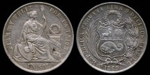 World Coins - 1869 Y.B Peru 1 Sol XF