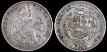 World Coins - 1907 FG Peru 1/5 Sol - Republic Coinage - AU