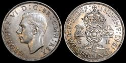 World Coins - 1943 Great Britain 1 Florin - George VI - UNC
