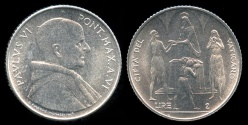 World Coins - 1968 Vatican 2 Lire - Pope Paul VI - FAO Coin - BU
