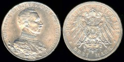 World Coins - 1913 A Prussia 3 Mark UNC