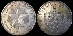 "World Coins - 1933 Cuba 1 Peso -  ""Star Peso"" - AU"