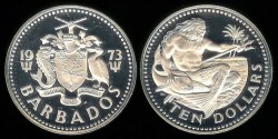 World Coins - 1973 FM Barbados 10 Dollars Silver Proof