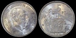 World Coins - 1957 (64) Spain 5 Pesetas - Francisco Franco - BU