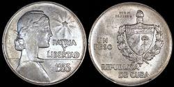 "World Coins - 1935 Cuba 1 Peso ""ABC"" AU"