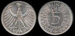 World Coins - 1969 D Germany - Federal Republic 5 Mark BU