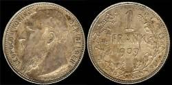 World Coins - 1909 Belgium 1 Franc UNC