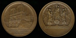 World Coins - 1863 France - Notre-Dame Cathedral (our Lady of Paris) seat of the archbishop of Paris by Raoul René Alphonse Bénard