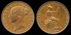 World Coins - 1859/59 Great Britain 1/2 Penny AU (Unlisted Overstrike)