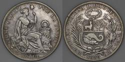 World Coins - 1896 TF Peru 1 Sol - XF