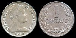 World Coins - 1938 (P) Colombia 1 Centavo AU