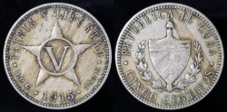 World Coins - 1915 Cuba 5 Centavos - 1st Republic - XF