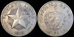 "World Coins - 1915 Cuba 1 Peso - ""Star Peso "" Low Relief Star - XF Silver"