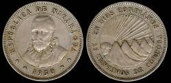 World Coins - 1950 Nicaragua 25 Centavo XF