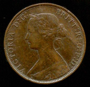 World Coins - 1867 Great Britain 1/2 Penny AU