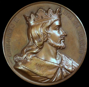 World Coins - 1840 France - Childeric II, King of Austrasia, of Neustria, of Burgundy and the Franks (662 - 675) by Armand-Auguste Caqué for the