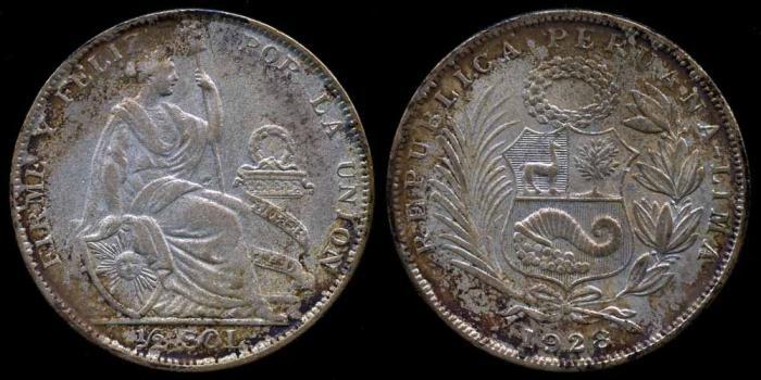 World Coins - 1928 Peru 1/2 Sol UNC