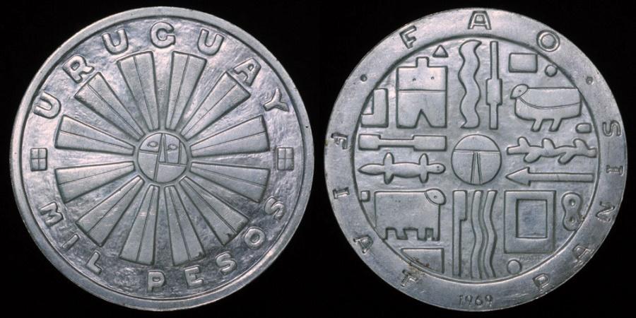 World Coins - 1969 So Uruguay 1000 Peso - F.A.O. Issue - Commemorative Silver BU