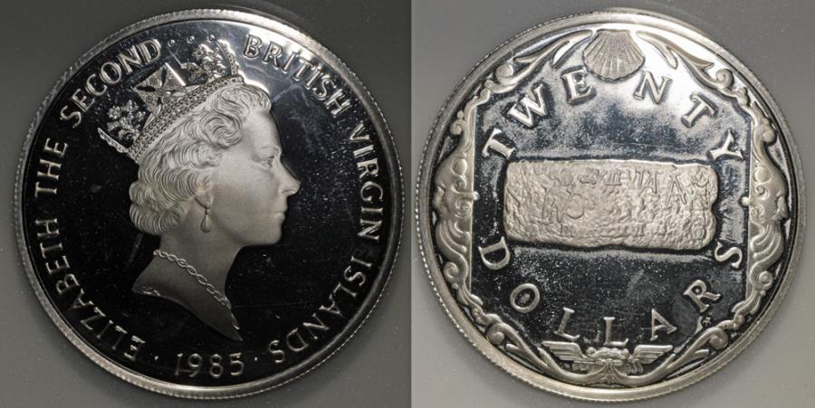 "World Coins - 1985 FM(P) British Virgin Islands 20 Dollars - Elizabeth II - ""Gold Bar Commemorative"" - Proof Silver"