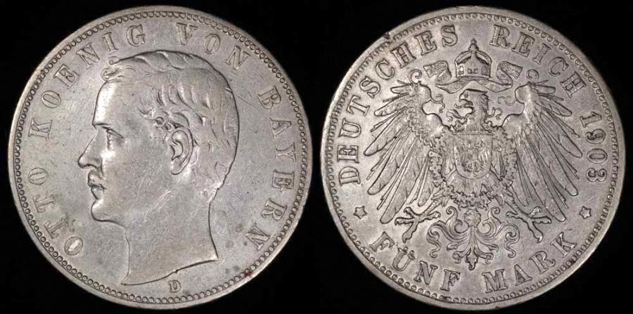 World Coins - 1903 D Germany - Bavaria 5 Mark - Otto Koenig - XF Silver