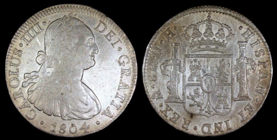 World Coins - 1804 MoTH Mexico 8 Real - Carolus IIII - VF