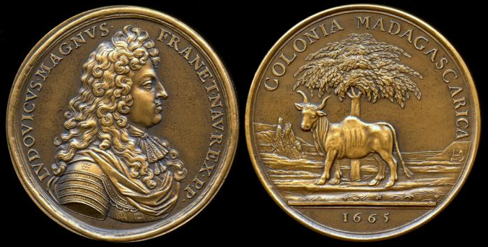 World Coins - 1665 France - Louis XIV, The Colony of Madagascar, by Jean Mauger