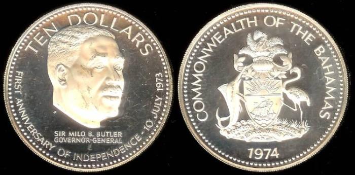 1974 Fm Bahamas 10 Dollar Silver Proof