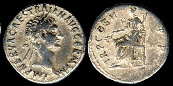 Ancient Coins - Trajan Denarius - TR P COS II P P - Rome Mint