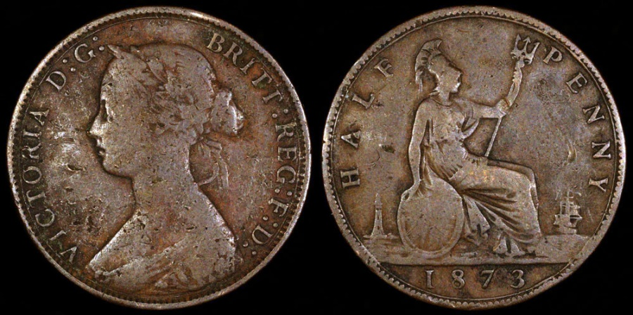 World Coins - 1873 Great Britain 1/2 Penny - Victoria - F