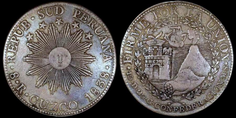 1838 CUZCO MS Peru South 8 Real XF