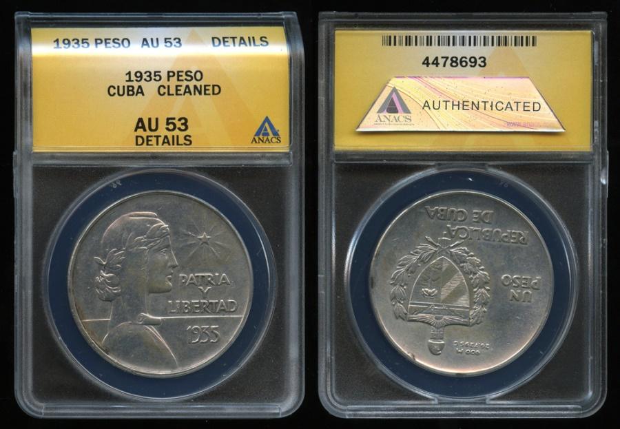 """World Coins - 1935 Cuba 1 Peso - """"ABC Peso"""" ANACS AU53"""