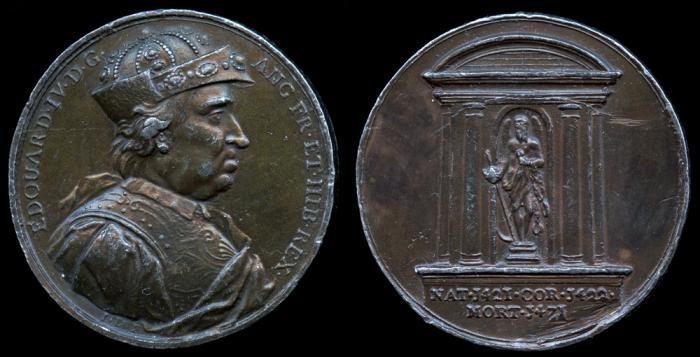 """World Coins - 1731 Great Britain – King Edward IV / King Henry VI by Jean Dassier (a """"Mule"""" from his series """"Kings and Queens of England"""")"""