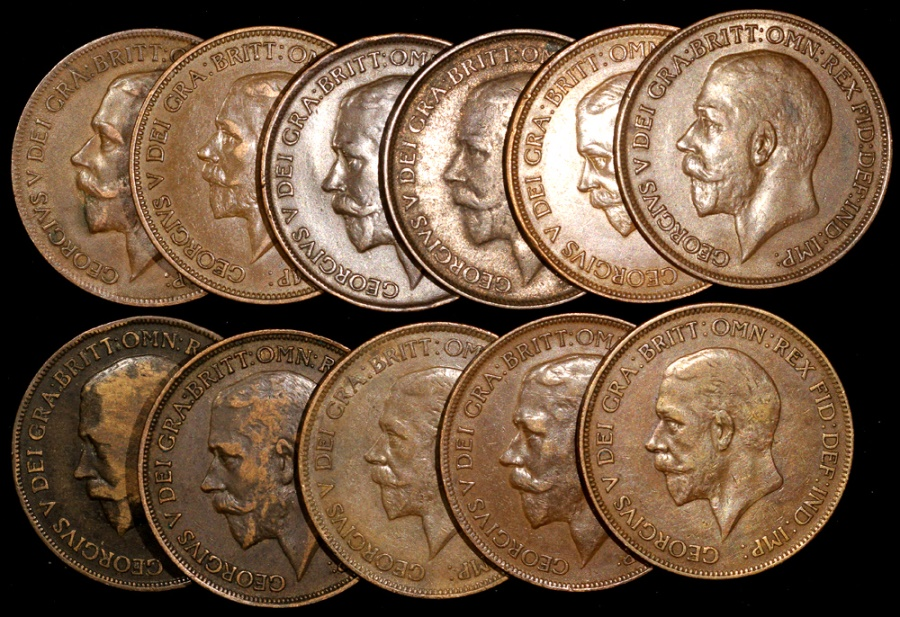 1911-1936 Great Britain – Group of George V 1 Penny Coins