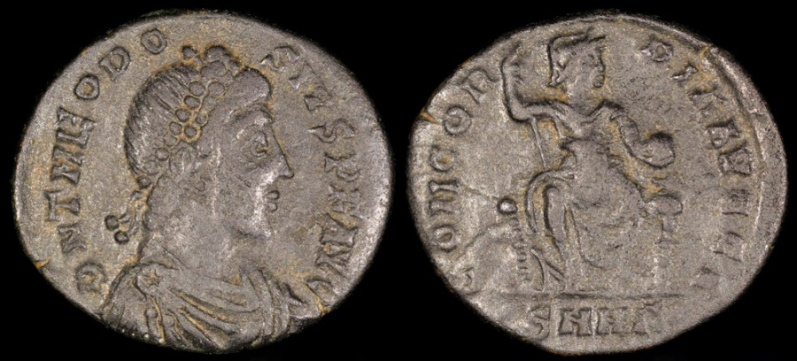 Ancient Coins - Theodosius I Ae3 - CONCORDIA AVGGG - Heraclea Mint
