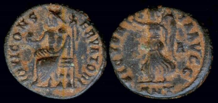 Ancient Coins - Maximinus II Follis - VICTORIA AVGG - Antioch Mint