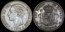 World Coins - 1878 (78) EM-M Spain 5 Pesetas - Alfonso XII - XF