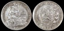 World Coins - 1908 FG Peru 1/2 Dinero - Republic Coinage - UNC