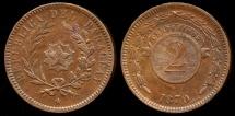 World Coins - 1870 Paraguay 2 Centesimo UNC