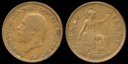 World Coins - 1930 Great Britain 1/2 Penny XF