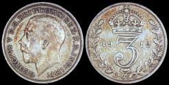 World Coins - 1912 Great Britain 3 Pence - George V - XF