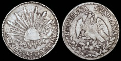 World Coins - 1848 ZsOM Mexico 2 Real - Zacatecas Mint - VF Silver