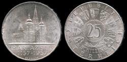 "World Coins - 1957 Austria 25 Schilling ""Mariazell Basilica"" Commemorative Silver BU"