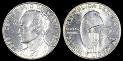 """World Coins - 1953 Cuba 25 Centavos """"Birth of Jose Marti Centennial"""" Silver Commemorative BU"""