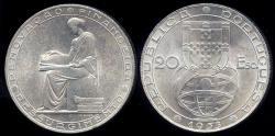 "World Coins - 1953 Portugal 20 Escudos - ""25th Anniversary of the Financial Reform"" Silver Commemorative BU"