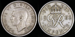 World Coins - 1952 Great Britain 6 Pence - George VI - XF