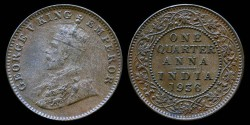 World Coins - 1936 B India (British) 1/4 Anna AU